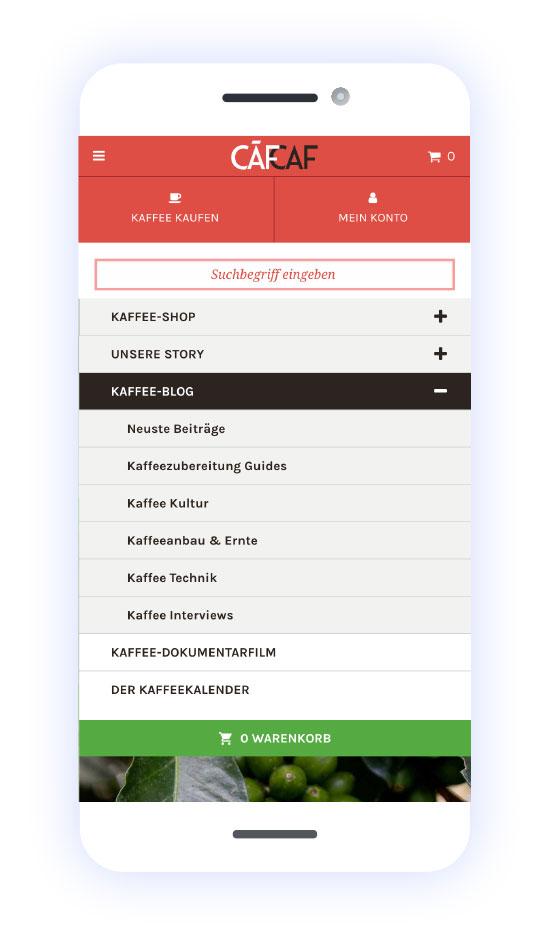 CafCaf Kaffee Onlineshop: Mobiles Menü