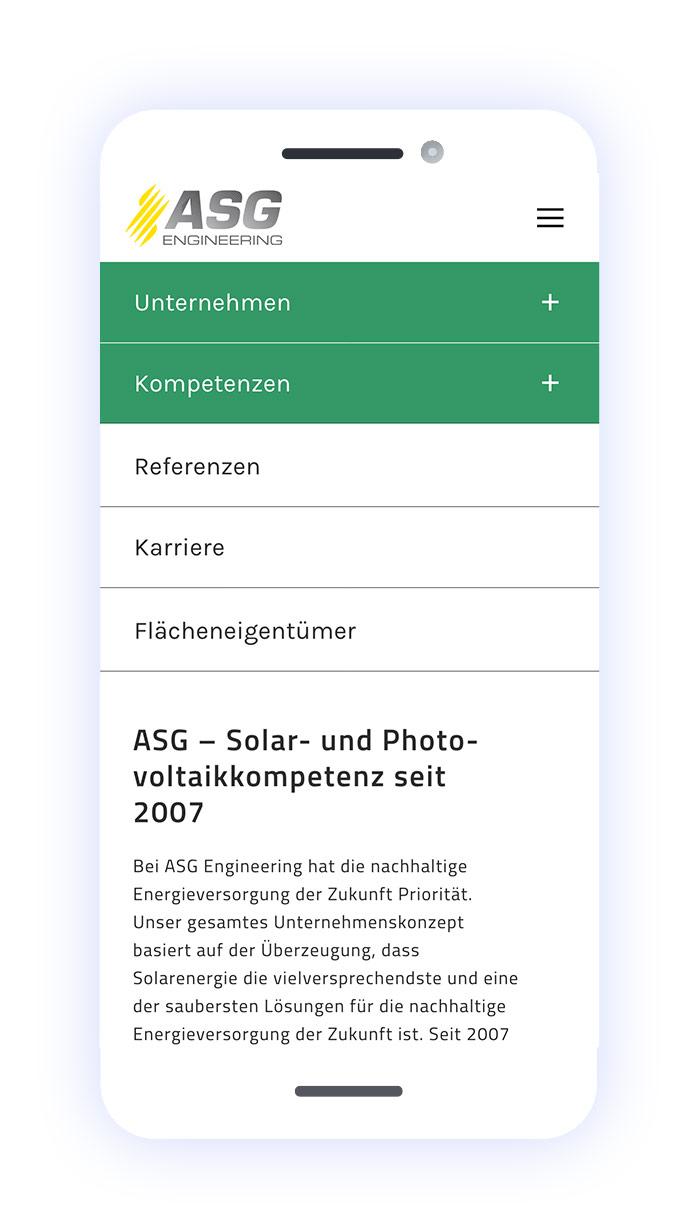 ASG Engineering: Mobiles Menü 1