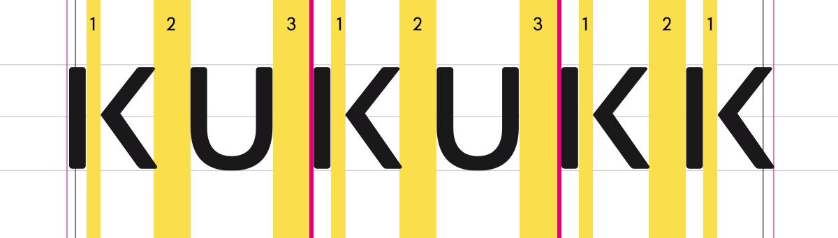 KUKUKK Logo, Schritt 4: Spationierung & Abstände