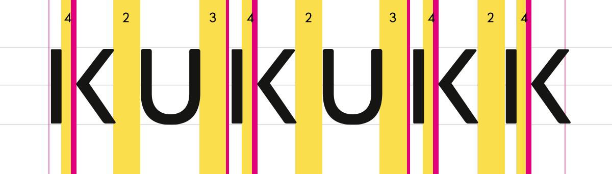 KUKUKK Logo, Schritt 5: Spationierung, & Abstände & Strichstärke